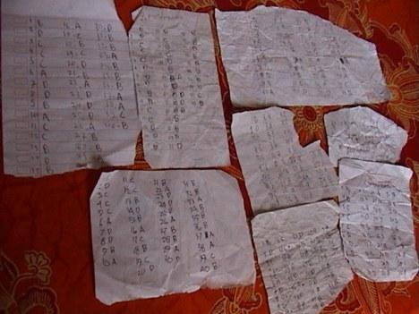 Sejumlah kecil barang bukti kecurangan dalam UAS BN SD 2009 di Cimahi - Jawa Barat yang dibuat oleh anak-anak